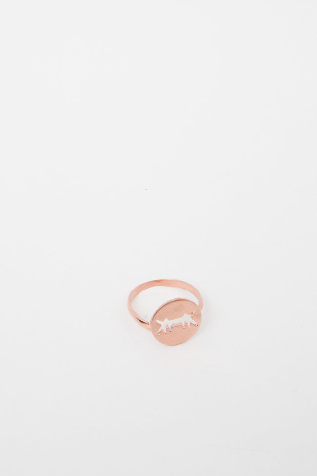 Ring Perforated Logo Pink Gold Dipped