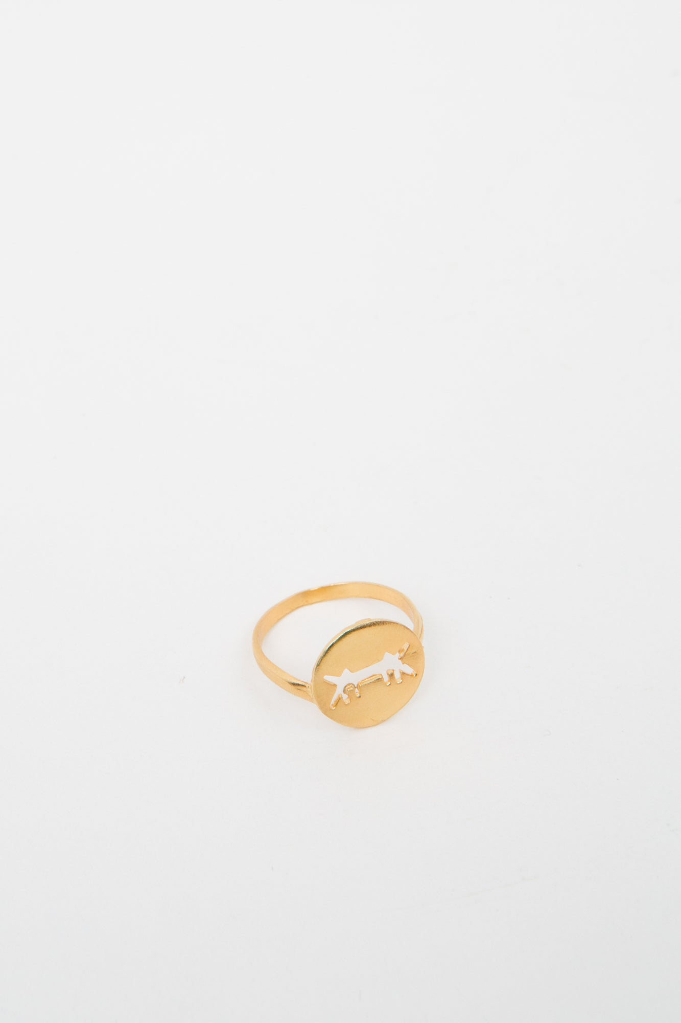 Ring Perforated Logo Gold Dipped