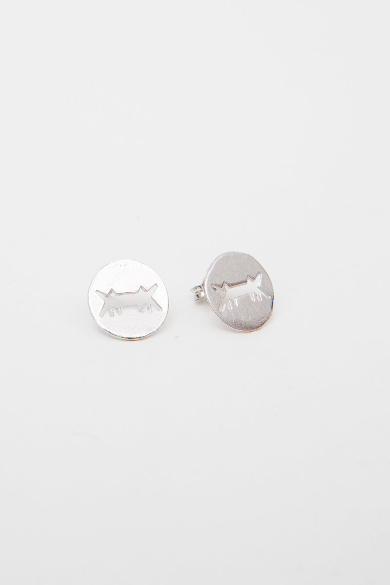 Earrings Perforated Logo Silver