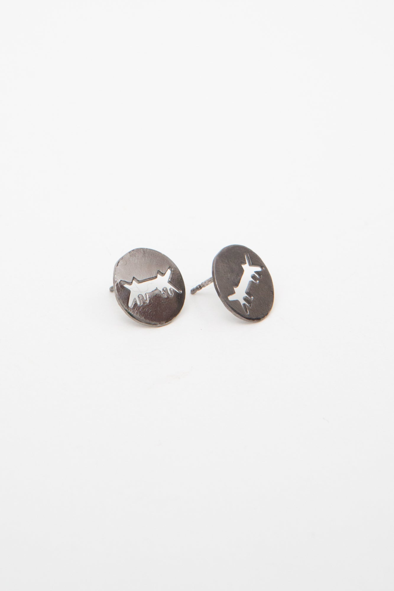Earrings Perforated Logo Black Silver