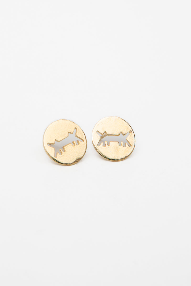 Earrings Perforated Logo Gold Dipped