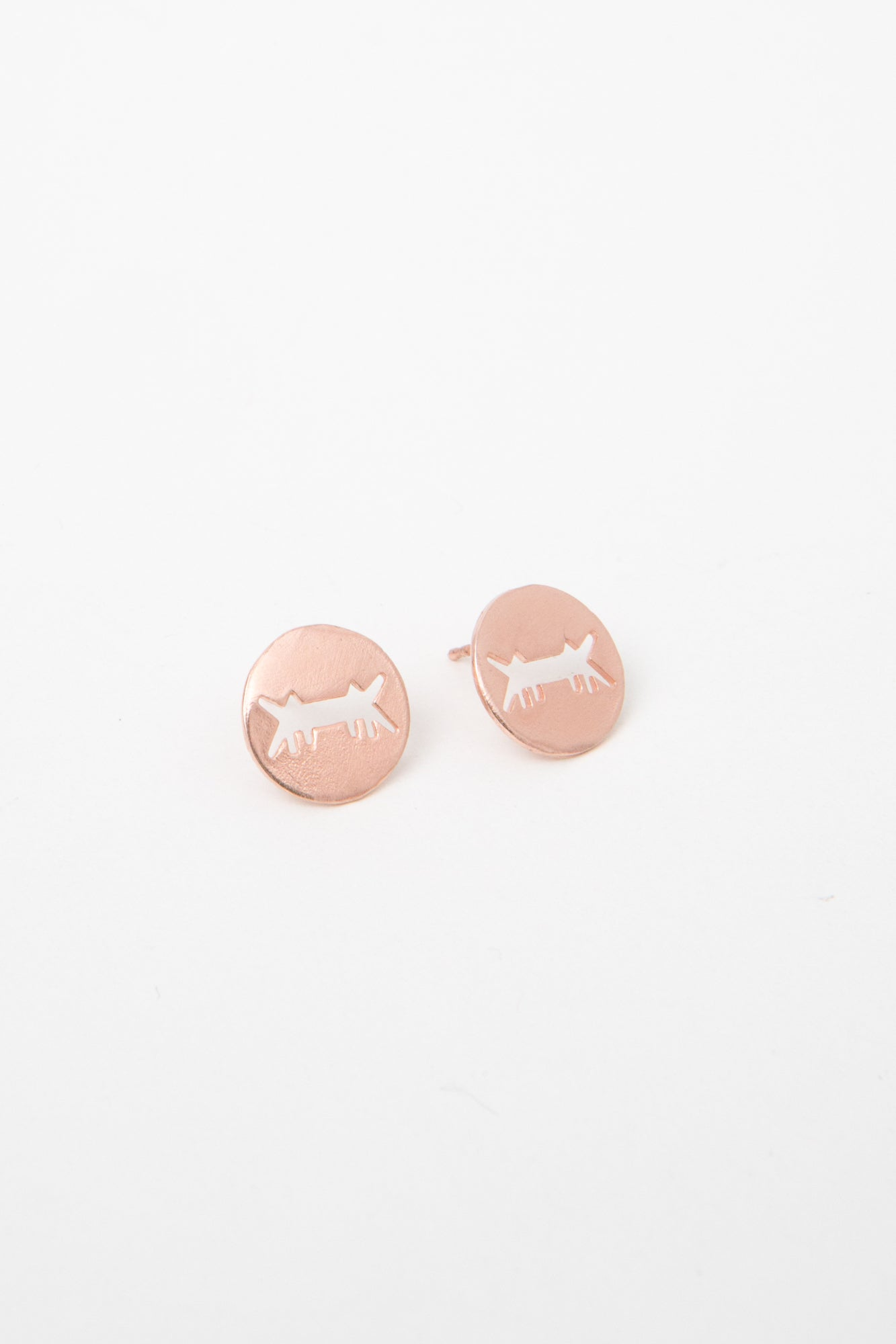 Earrings Perforated Logo Pink Gold Dipped