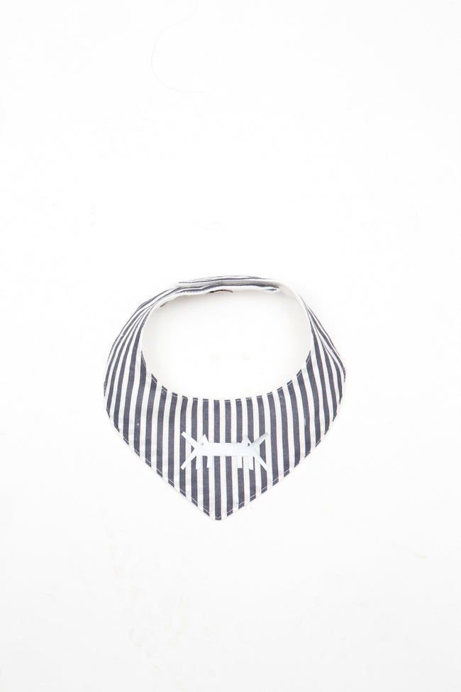 Baby Scarf Bib in Grey Stripes