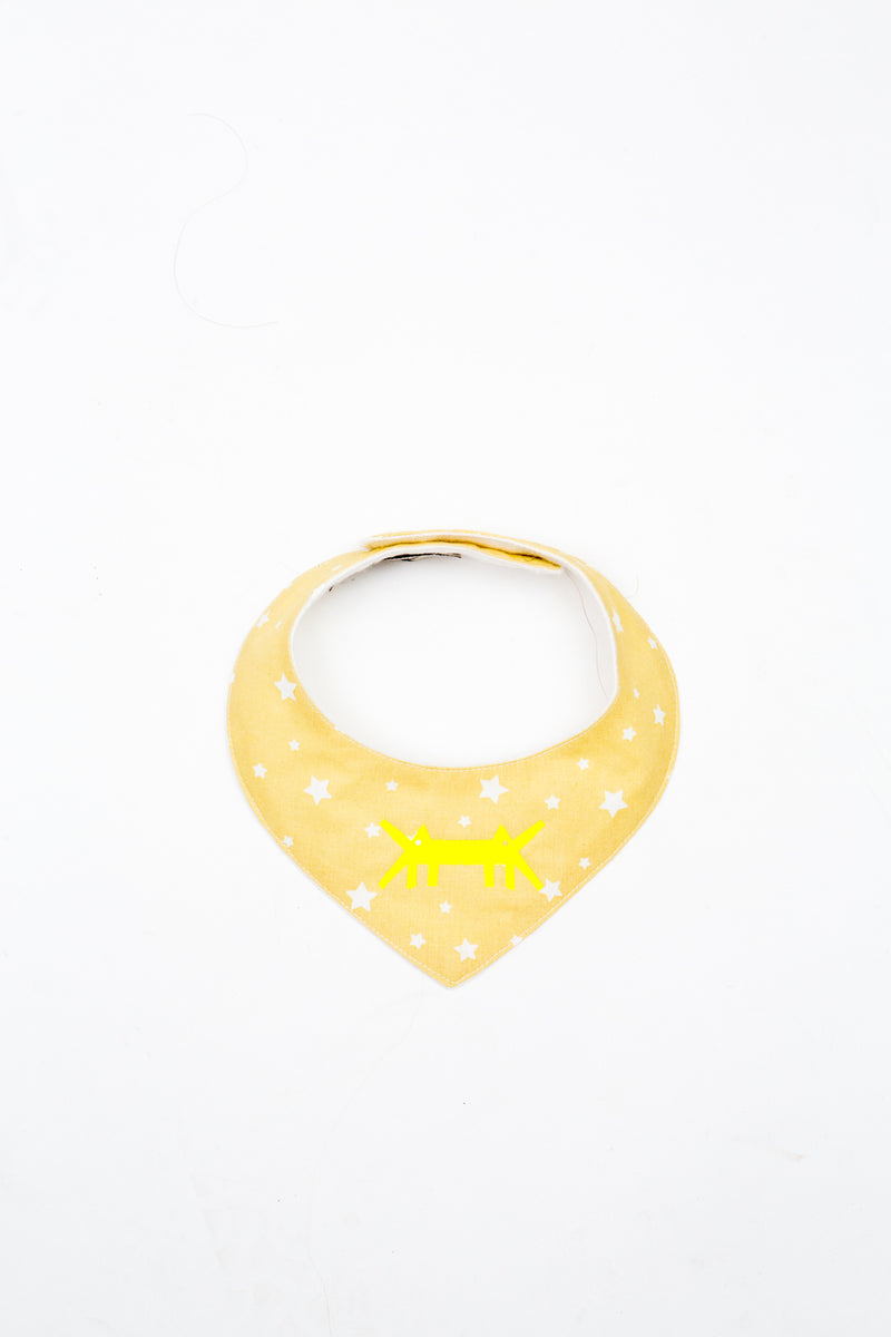 Baby Scarf Bib in Yellow Polka Stars