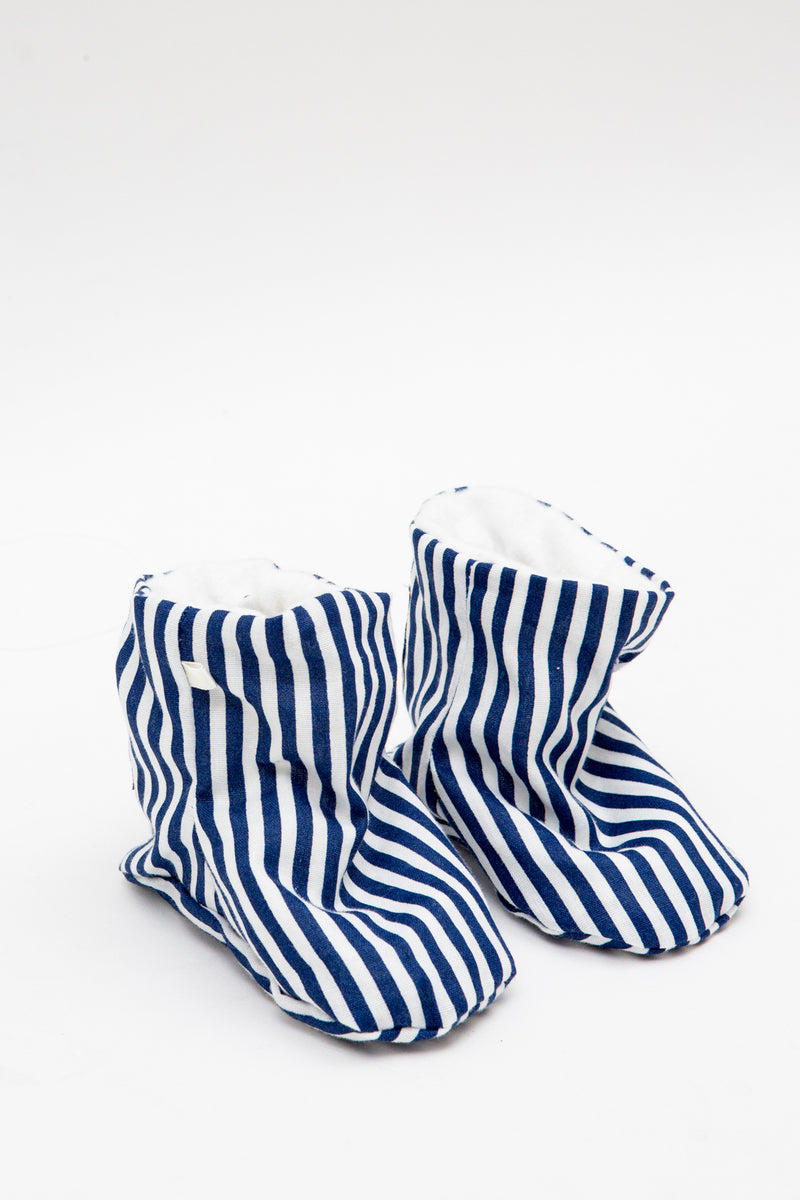 Baby Shoes in Navy Blue Stripe