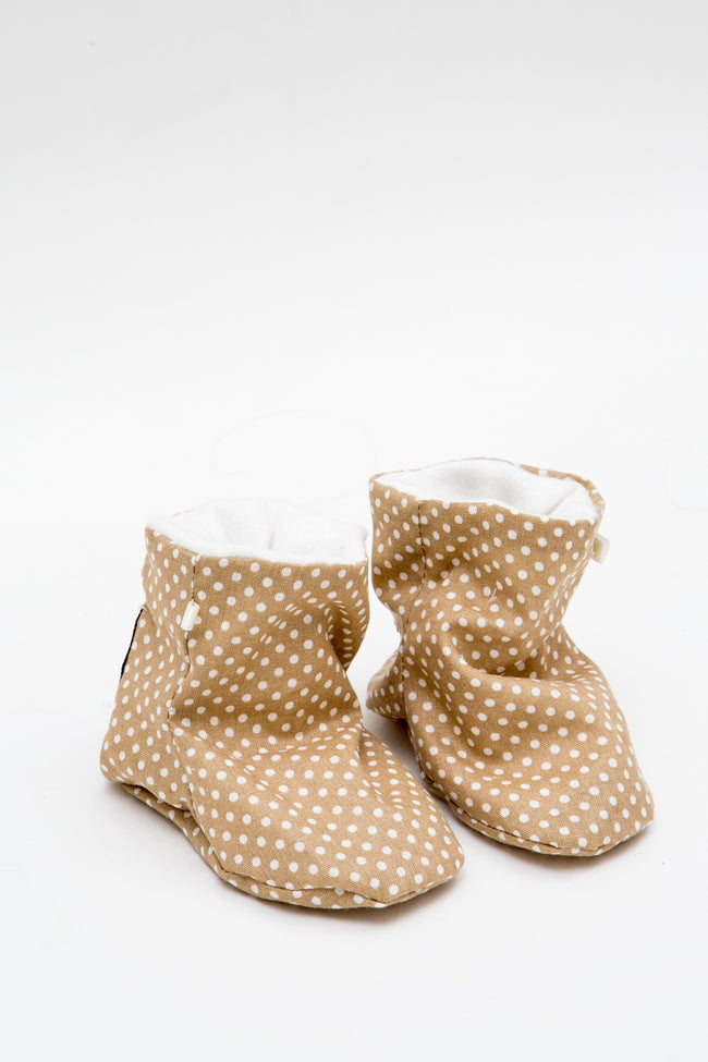 Crib Boots in Beige Polka Dot