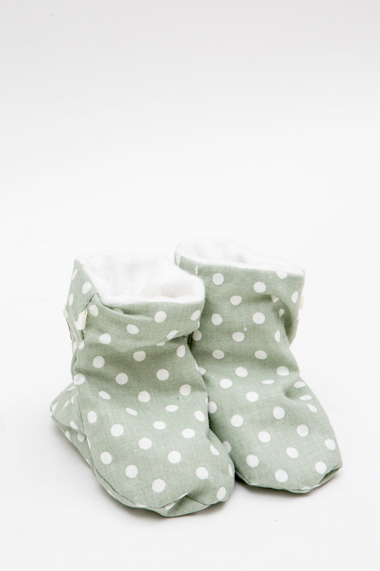 Crib Boots in Mint Polka Dots