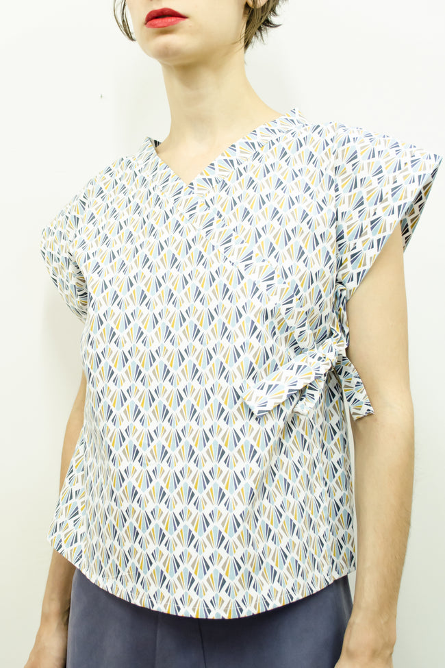 Top Suki in Diamond Print Cotton Poplin