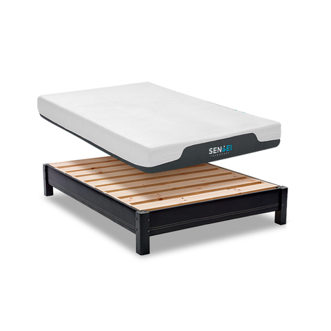 Set de Colchón de Memory foam y Base de Pino - Chocolate