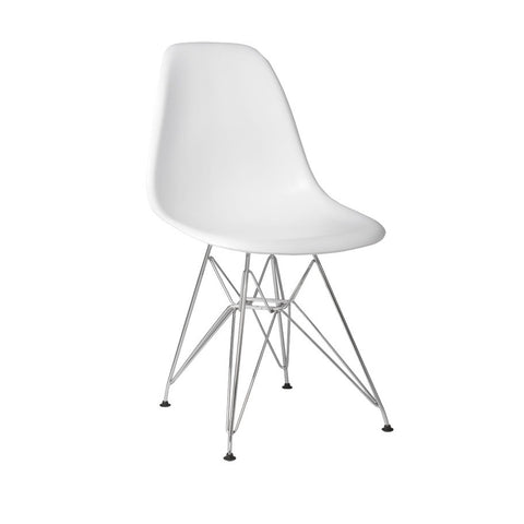 Metal Side Silla de Abs Y Cromo - Blanco
