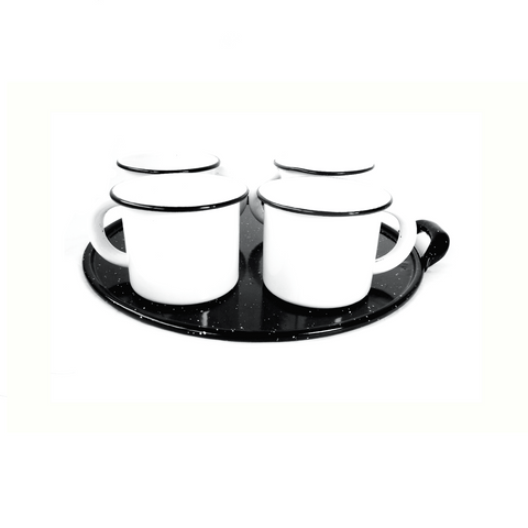 Flook Set de 4 Tazas Con Base de Peltre - Blanco Filo Negro