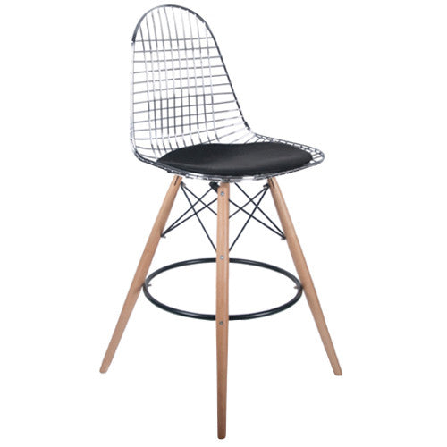 Woody Side Stool de Abs Y Madera - Diamond Cromo