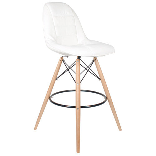 Woody Side Stool de Abs Y Madera - Cush Blanco
