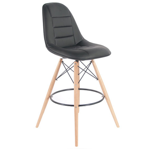 Woody Side Stool de Abs Y Madera - Cush Negro