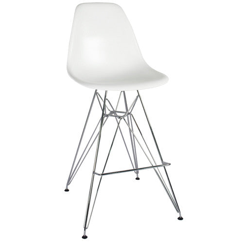 Metal Side Stool de Abs Y Acero Cromado - Blanco