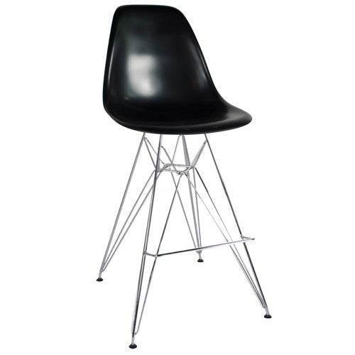 Metal Side Stool de Abs Y Acero Cromado - Negro