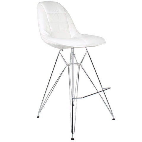 Metal Side Stool de Abs Y Acero Cromado - Cush Blanco