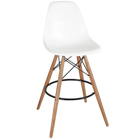 Woody Side Stool de Abs Y Madera - Blanco