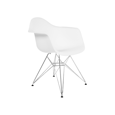 Metal Arm Silla de Abs y Cromo - Blanco