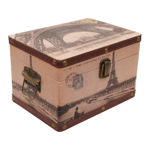 Loire Set de 2 Cajas Decorativas Paris de MDF y Vinil - Multicolor