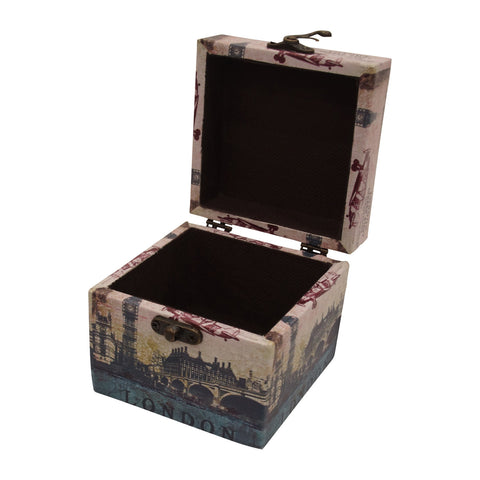 London Set de 2 Cajitas Decorativas de MDF y Vinil - Multicolor