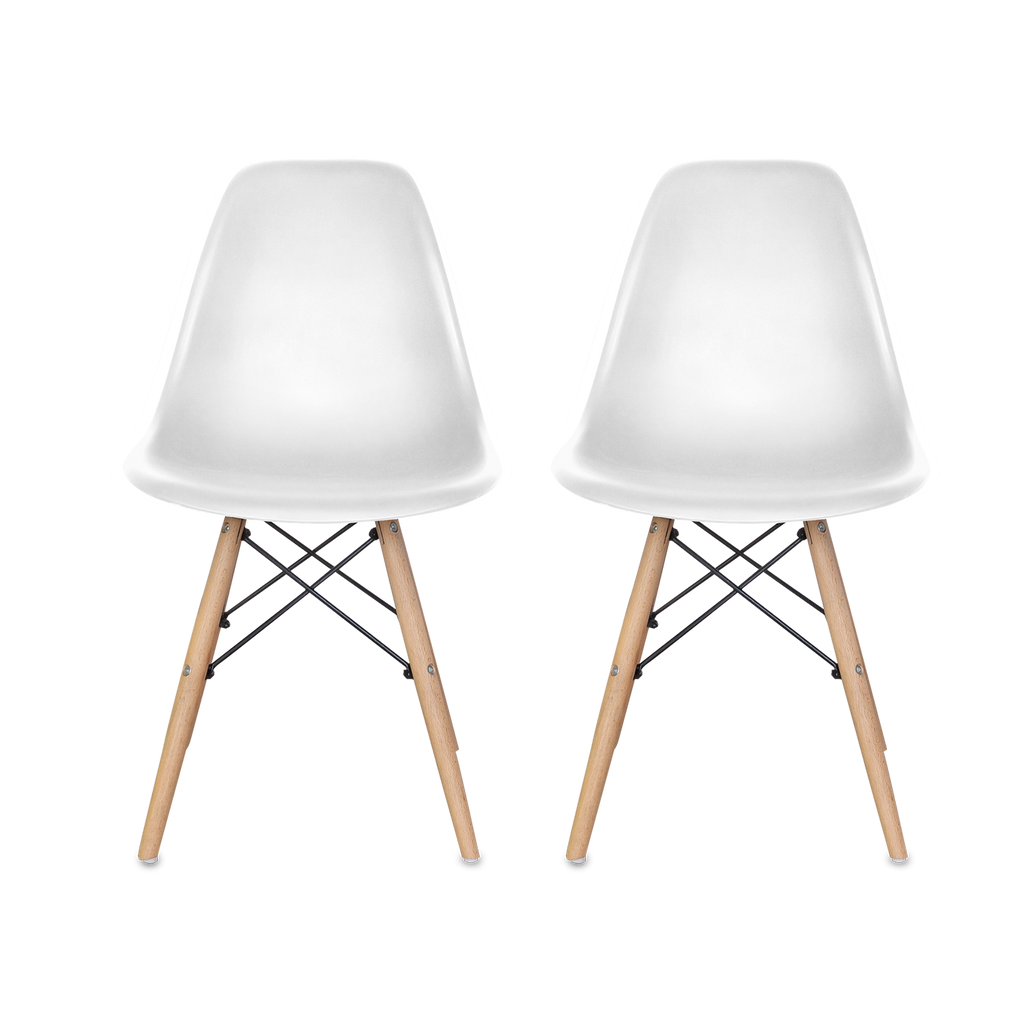 Woody Side Set de 2 Sillas de ABS y Madera - Varios Colores