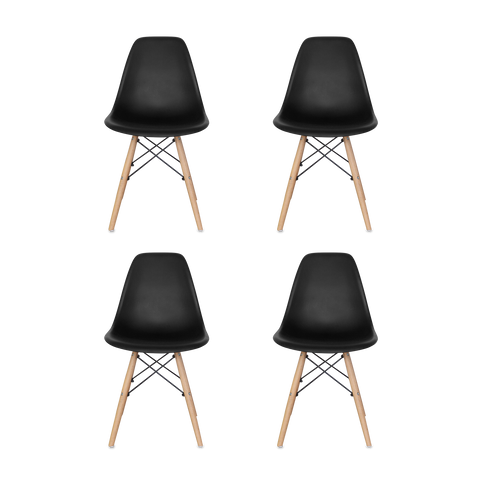 Woody Side Set de 4 Sillas de ABS y Madera - Varios Colores