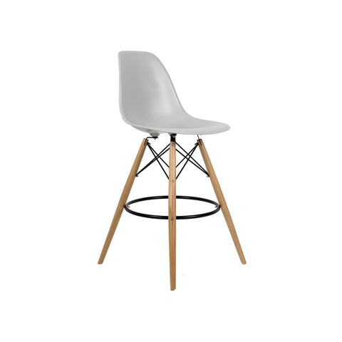 Woody Side Stool Banco Alto de Polipropileno - Gris claro