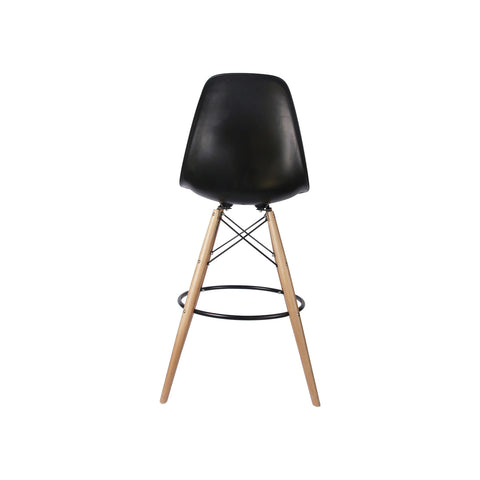 Woody Side Stool de Abs Y Madera - Negro