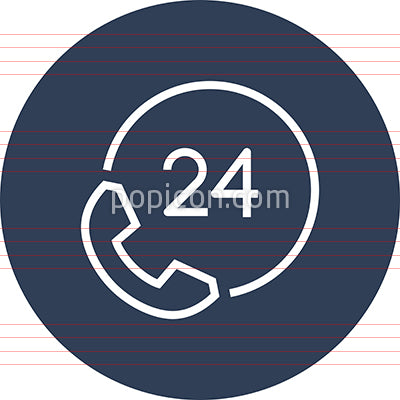 24-7 Phone Assistance Outline Icon