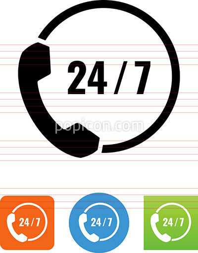 24-7 Phone Support Icon