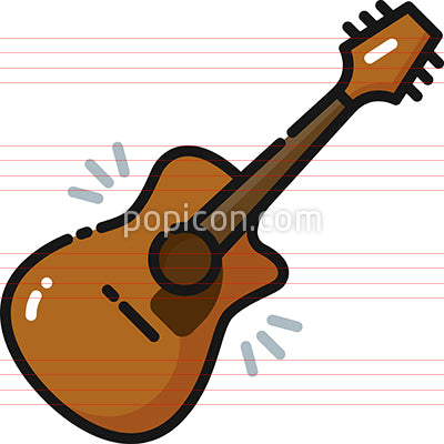 Acoustic Guitar Filled Outline Icon