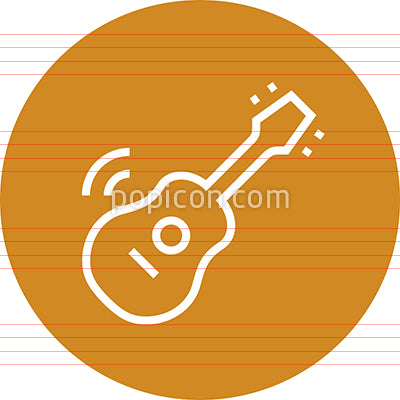 Acoustic Guitar Music Outline Icon