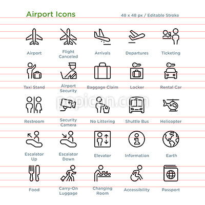 Airport Icons - Outline