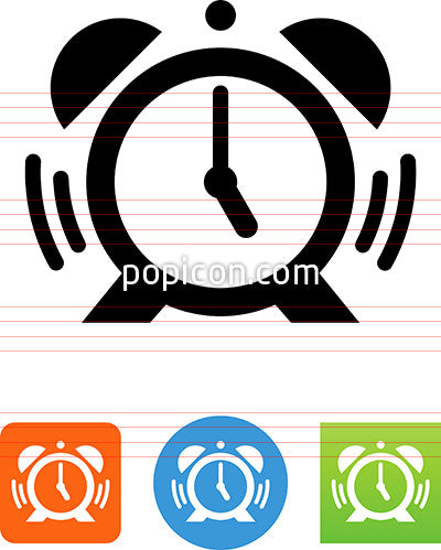 Alarm Clock With Ringer And Soundwaves Icon