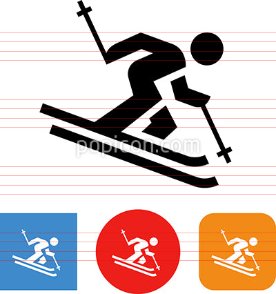 Alpine Skier Telemark Vector Icon