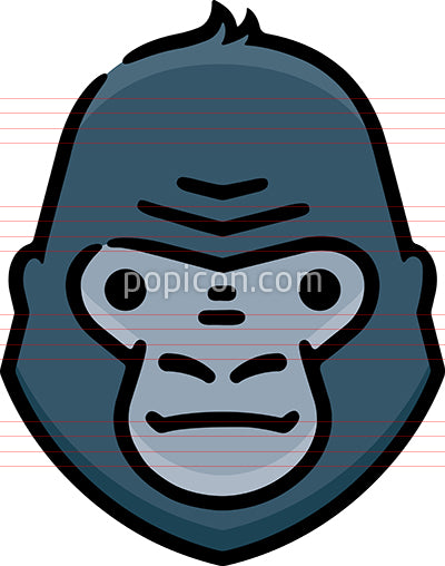 Ape Head Hand Drawn Icon