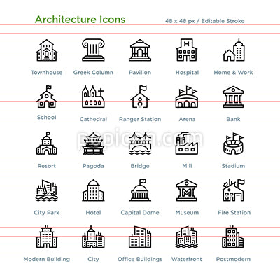 Architecture Icons - Outline