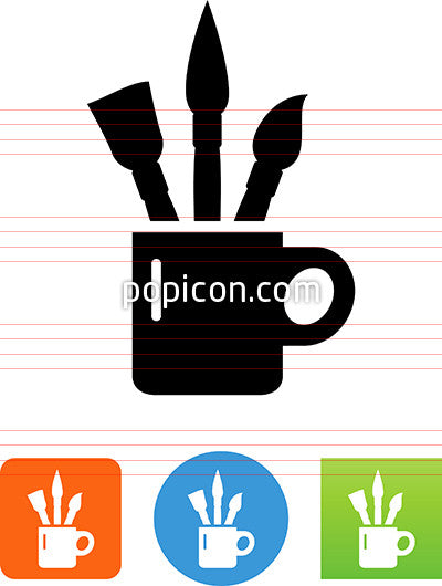 Art Brushes In Cup Icon