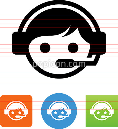 Assistance Call Center Service Rep Male Icon