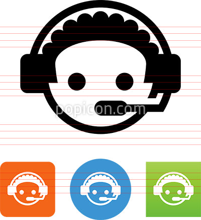 Assistance Call Center Service Rep Man Icon