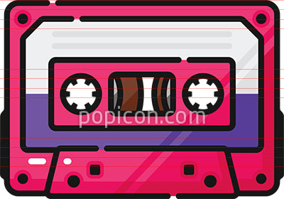Audio Cassette Tape Filled Outline Icon