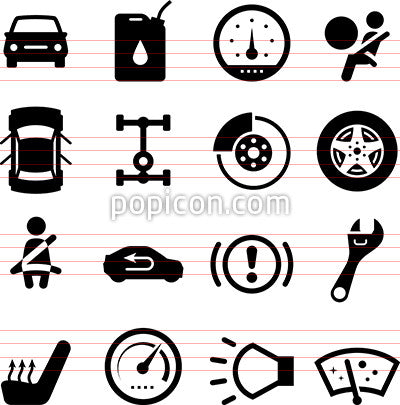 Auto Parts Icons - Black Series