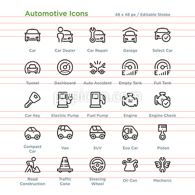 Automotive Icons - Outline