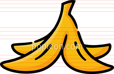 Banana Peel Hand Drawn Icon