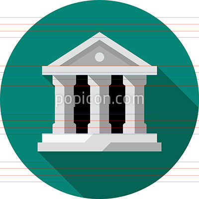 Bank Building Icon On Background - Flat Color Series