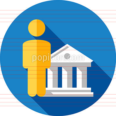 Banker Icon On Background - Flat Color Series