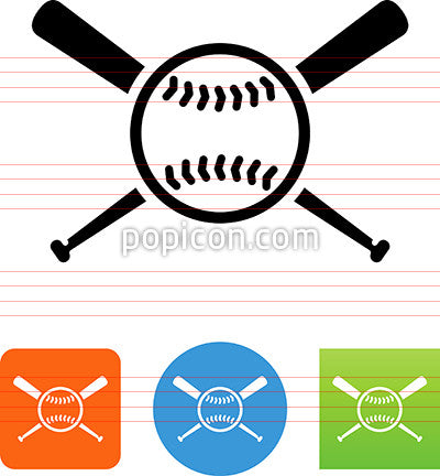 Baseball Ball And Bat Icon