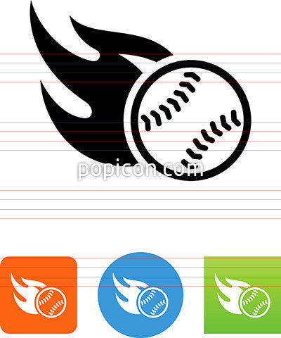 Baseball On Fire Icon