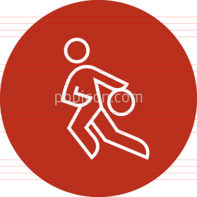 Basketball Player Driving To The Basket Outline Icon
